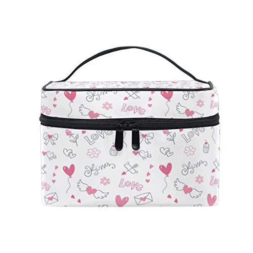 ake-up Kosmetiktasche Tasche,Travel Cosmetic Bag Heart Ballon Wings Valentine Toiletry Makeup Bag Pouch Tote Case Organizer Storage for Women Girls ()