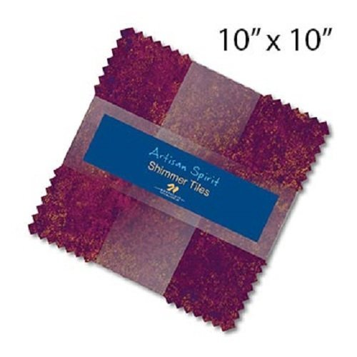 Artisan Spirit Shimmer Tiles 42-10 Squares Northcott Hibiscus 100% Cotton Quilt Fabric by Northcott Studio - Hibiscus Tile