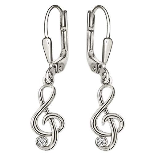 Clever Schmuck Silberne kleine Damen Kinder Ohrhänger 25 mm mit Mini Notenschlüssel 9 mm Musik und Zirkonia weiß glänzend STERLING SILBER 925