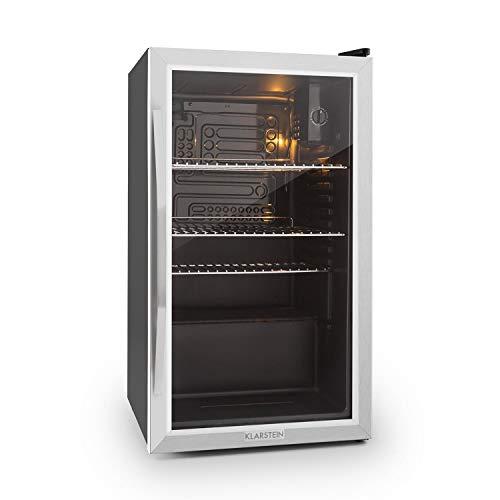 Klarstein Beersafe XXL - Black Edition Getränke-Kühlschrank mit 80 Liter, Energieeffizienzklasse A+, Metallgehäuse mit doppelt isolierter Glastür, 5-10 Grad, niedrige Betriebsgeräusche, schwarz-silber