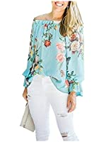 Tootlessly Women Crewneck Strapless Floral Long Sleeve Blouse Shirt AS1 S