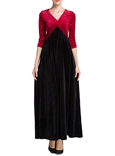 Azbro Women's Contrast Color Faux Wrap Prom Dress red