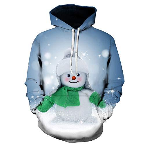 Fenverk Weihnachtspullover 3D Druck Pullover Weihnachten Ugly Christmas Sweater Kapuzen Sweatshirt Kapuzenpullis Mit GroßEn Taschen Herren Langarm Top Shirt FüR MäNner(Blau,L)