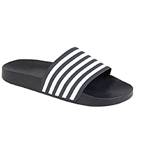 Boys Slider Flip Flops Size 10 11 12 13 1 2 3 4 5 6 Infant - Junior (UK 4 EU 37, Navy/White)