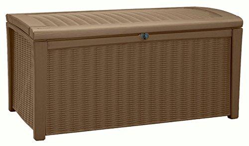 Große Outdoor Aufbewahrungsbox von Keter 17198682 mit Sitzfunktion, Witterungsbeständig 400 Liter ideal für den Garten 130 x 70 x 63 cm