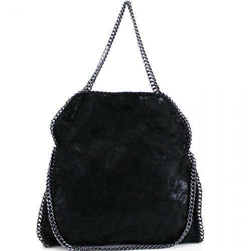 womens-stella-designer-frame-chain-detail-tote-bag-ladies-shoulder-handbag-work-new-black