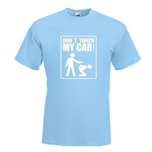 KIWISTAR - Dont touch my Car Motiv3 T-Shirt in 15 verschiedenen Farben - Herren Funshirt bedruckt Design Sprüche Spruch Motive Oberteil Baumwolle Print Größe S M L XL XXL Himmelblau