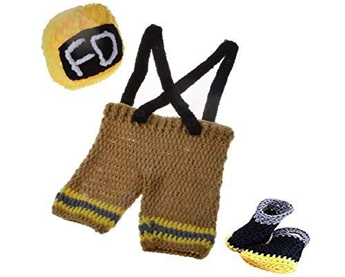 Baby Mädchen/Jungen häkeln Stricken Kostüm Fotografie Prop Outfits (Kleiner Feuerwehrmann (2)) ()
