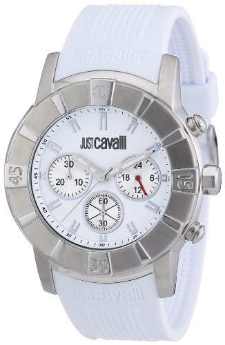Just Cavalli Unisex Watch R7271661045 In Collection Crystal with Chrono, White Dial and Pu Strap