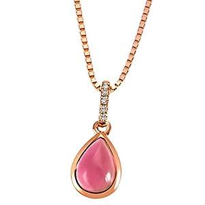 Goldmaid Damen-Kette mit Anhänger Turmalin 585 Rotgold Turmaline pink Tropfenschliff Diamant (0.02 ct)  Schmuck Diamantkette