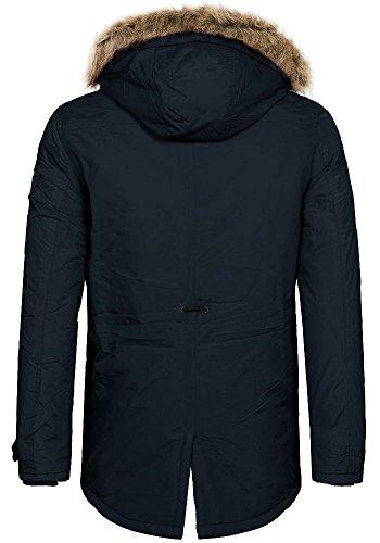 SJ Premium Herren Parka Baroquee Fellkapuze navy blazer
