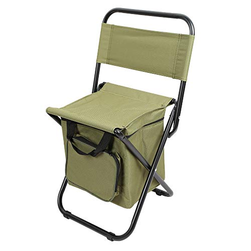 Lisserf Klappbare Rückenlehne Camping Angeln Stuhl Hocker Rucksack mit Kühler Isolierte Picknicktasche Wandern Sitztasche -