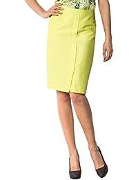 Daniel Hechter Damen Rock Seide Skirt Unifarben, Größe: 36, Farbe: Gelb