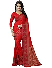 Whynot Women's Latest Design Sarees New Collection In Red Color Faux Georgette Material Printed Saree For Women...