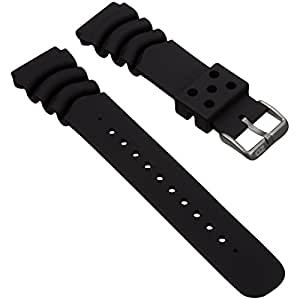 Dive Watch Strap by ZULUDIVER, for Seiko Z20 Monster, Black, 20mm