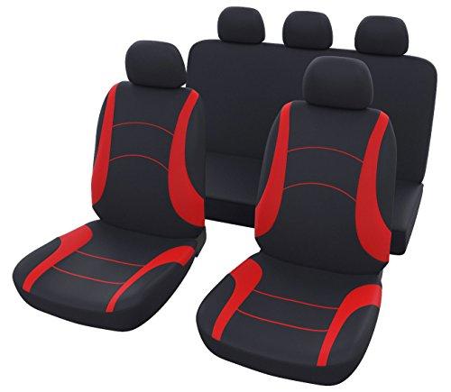 Autositzbezüge Schwarz Rot Universal | Auto Sitzbezug Set 9 teilig | Autozubehör Innenraum | B8 Auto Sitzbezüge Rückbank