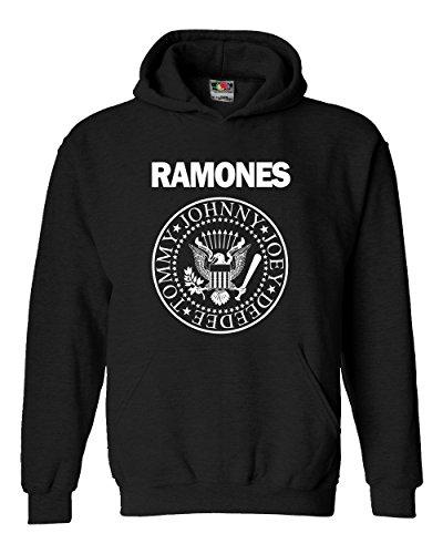 """Felpa Unisex """"Ramones""""- Felpa con cappuccio rock band LaMAGLIERIA, S, Nero"""