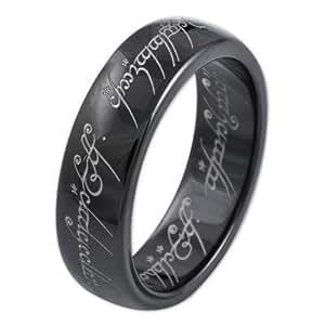"""Herr der Ringe Unisex-Ring """"Saurons Ring"""" aus dem kleinen Hobbit Wolfram PVD schwarz 3010-050"""