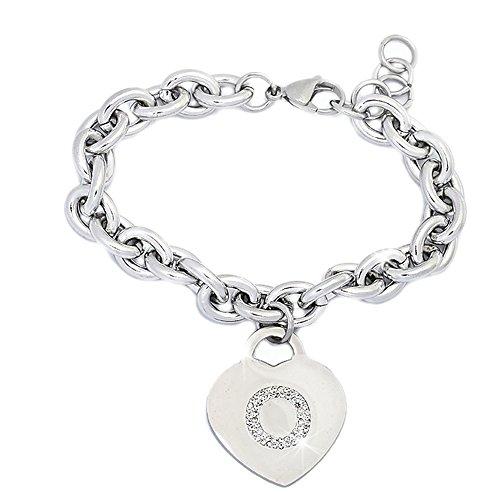 Bracciale donna in acciaio groumette con lettera o - iniziale e cristalli bianco, misura regolabile, nascita, anniversario, idea regalo