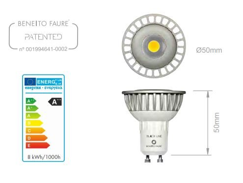 DICROICA GU10 LED SHARP BLACK LINE 8W. 220V. CALDA 2700K