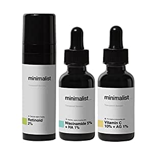 Minimalist Daily Multi Vitamin (A, B3 & C) Dose For Healthy, Glowing Skin   Antioxidant Rich Face Serums & Anti Aging Night Cream Combo For Men & Women  90 ml