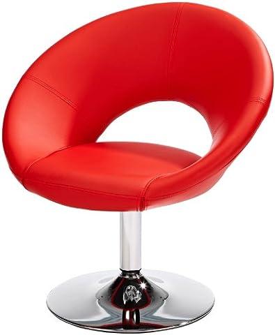AMSTYLE Relaxsessel MALTA Loungesessel Bezug Kunstleder Farbe rot Cocktailsessel drehbar
