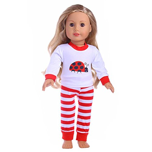 American Elsa Girl-puppen (Minshao Nette 18 Zoll American Girl Puppe Kleidung + Hosen Set (Rot))
