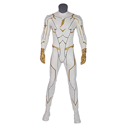 QWEASZER The Flash Season 5, Godspeed Kostüm Superschurken-Kostüme für Herren Helm, Overall, Handschuhe, Schuhe Halloween Party Props Deluxe Edition,White-Custom - Benutzerdefinierte Flash Kostüm