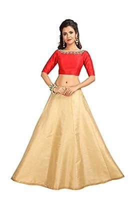 Studio Shringaar Women's Golden Poly Raw Silk Skirt Lehenga