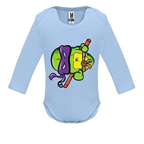 LookMyKase Body bébé - Manche Longue - Turtle Violet - Bébé Garçon - Bleu - 6MOIS