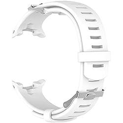 Ruentech Suunto D4/D4i Novo de remplacement Band Bracelet en silicone (chaque couleur avec une sangle d'extension et d'un ensemble de vis pour gratuit), 1-Blanc