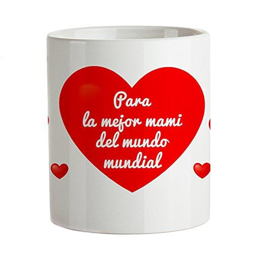 """Taza termosensible – Taza roja con corazones y mensaje – """"Para la mejor mami del mundo mundial"""" – Taza de café con efecto de color – Ideas para regalar a mamá – Regalo para el Día de la Madre"""