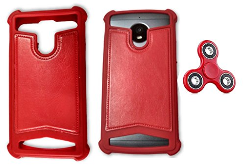 BKDT Marketing Rubber and Leather Soft Back Cover for Panasonic T31- Red with Fidget Spinner  available at amazon for Rs.519