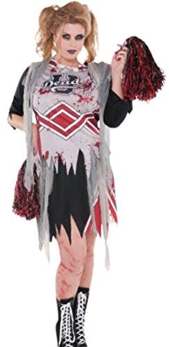 Confettery - Damen Zombie Cheerleader Kostüm, Halloween, XL, Mehrfarbig