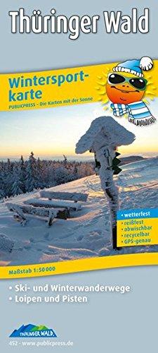Wintersportkarte Thüringer Wald: Mit Ski- und Winterwanderwegen, Loipen und Pisten, wetterfest, reissfest, abwischbar, GPS-genau. 1:50000