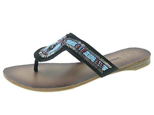 Beppi Femmes tongs chaussures d'été Noir
