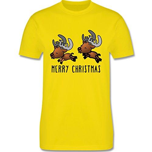 Weihnachten & Silvester - Rentiere Merry Christmas - Herren Premium T-Shirt Lemon Gelb