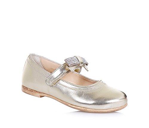 FLORENS - Ballerina dorata in pelle, adatta per le occasioni di cerimonia, con chiusura a strappo, Bambina, Ragazza-21