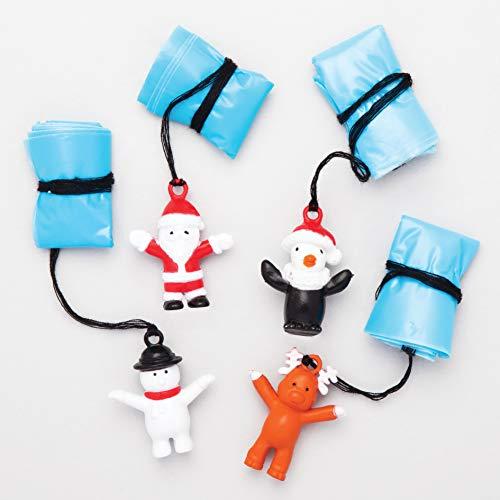 Baker Ross Fallschirmspringer Weihnachtsfiguren als kleine Adventsüberraschung für Kinder (4 Stück) -