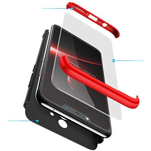 2ndSpring Huawei P20 Lite Hülle, Huawei Nova 3e Handyhülle 3 in 1 Ultra Dünner PC Harte Schutzhülle 360 Grad Hülle + Panzerglas für Huawei P20 Lite Komplett Hülle Fullbody Case Cover Rot Schwarz