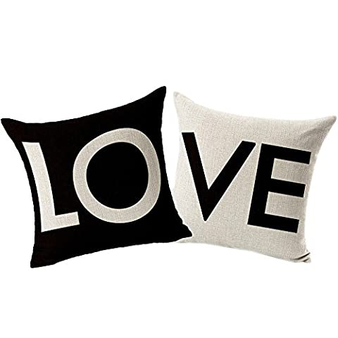 Coolsummer Stylish Simplicity Couples LOVE Pattern Linen Square Decorative Fashion Throw Pillow Case Cushion Cover Red 18