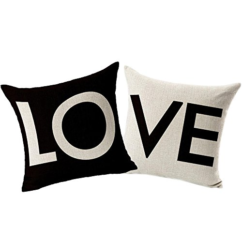 Coolsummer Elegante semplicità coppie Love Pattern cotone lino decorativo quadrato Fashion Throw Pillow Cover cuscino (Sham Kit)