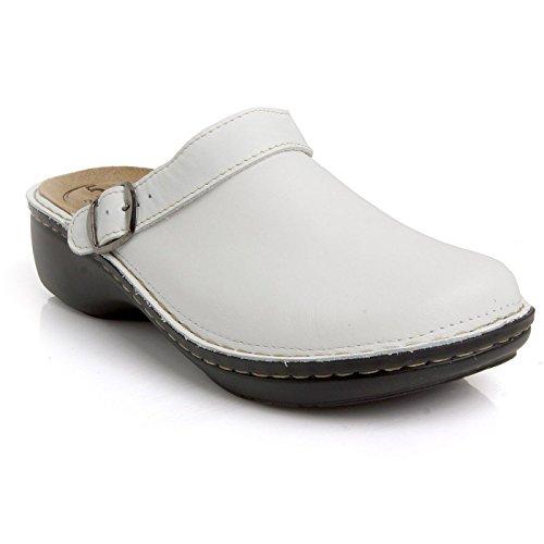 Batz Mira 5 Zone Scarpe Comfort Di Alta Qualità, Scarpe In Pelle, Mulo, Zoccolo, Da Donna Bianco