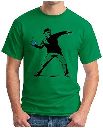 OM3 - WALTER METH BOMBER - T-Shirt Banksy Flower Thrower Breaking Crystal Meth Cook Parodie Geek Fun USA, S - 5XL Grün