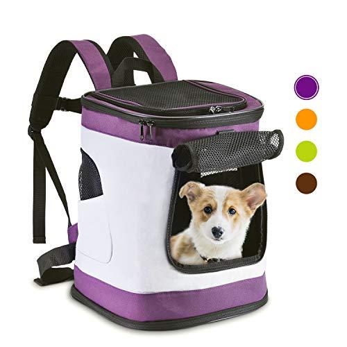 VICTORIE Bolsa de Transporte para Mascotas Perros Gatos Conejo Mochila Ajustable Solo Hombro Viaje Outdoor Gris