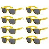 Colores Neon Articulos de Fiesta Gafas de sol de Cuadradas (8 piezas Amarillo)