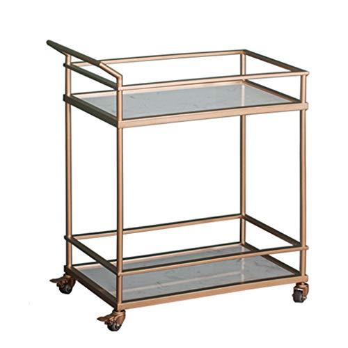 Kitchen cart 2-Lagiges Vergoldetes Weinregal Mit RäDern, Goldenes Weinregal Mit Marmorplatte, Flexibles 360-Grad-Lenkrad, Vertikales Lagergestell, Leicht Zu Bewegen, Abnehmbar.