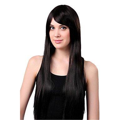 HJL-capless perruque noire extra long de haute qualit¨¦ naturelle droite synth¨¦tique , 28 inch