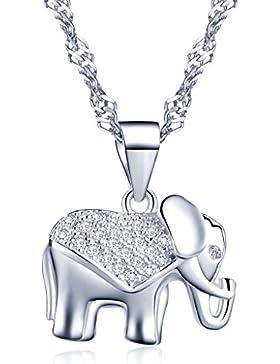 Yumilok Silber/Roségold 925 Sterling Silber Zirkonia Niedlicher Elefant Anhänger Halskette Kette mit Anhänger...
