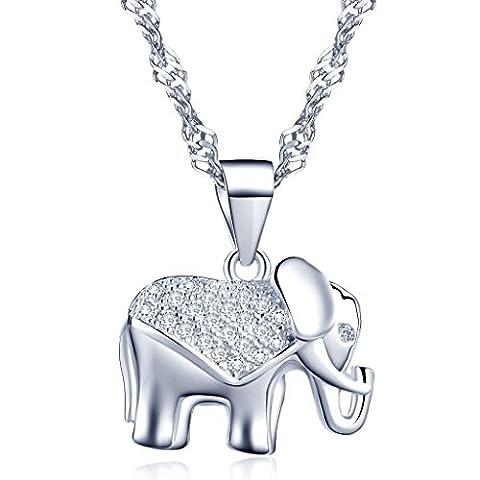 Yumilok Jewelry 925 Sterling Silver Cubic Zirconia Lovely Elephant Pendant